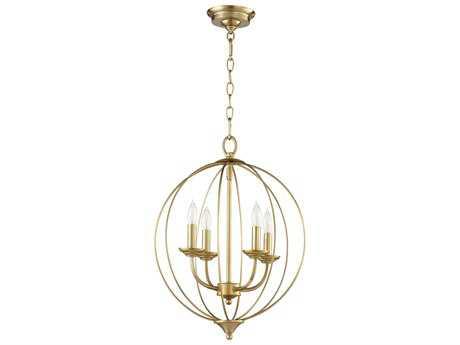 Quorum International Flora Aged Brass Four-Light 15'' Wide Mini Chandelier QM623480