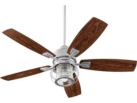 Quorum International Galveston Galvanized 52'' Wide Outdoor Ceiling Fan with Light