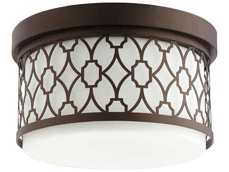 Quorum International Geometric Oiled Bronze Two-Light 12'' Wide Flush Mount Light QM3441286