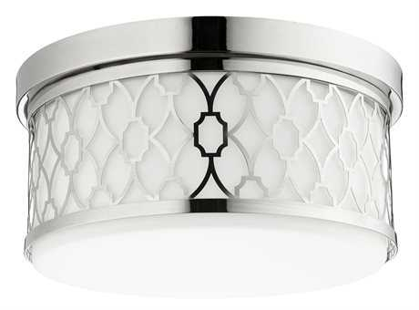 Quorum International Geometric Polished Nickel Three-Light 14'' Wide Flush Mount Light QM3441462