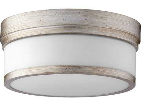 Quorum International Geometric Aged Silver Leaf with Satin Opal Two-Light 12'' Wide Flush Mount Light QM35091260