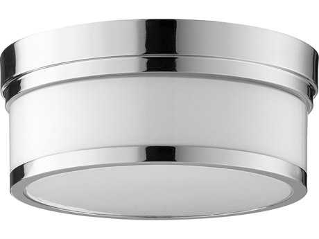 Quorum International Geometric Polished Nickel with Opal Two-Light 12'' Wide Flush Mount Light QM35091262
