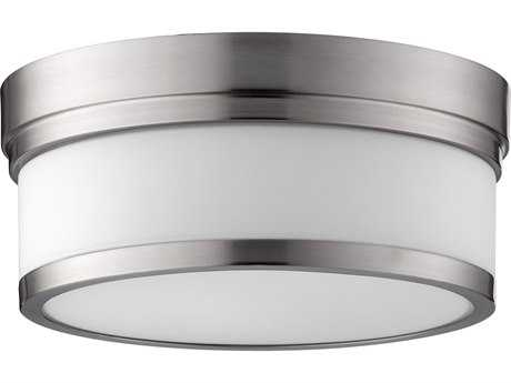 Quorum International Geometric Satin Nickel with Satin Opal Two-Light 12'' Wide Flush Mount Light QM35091265