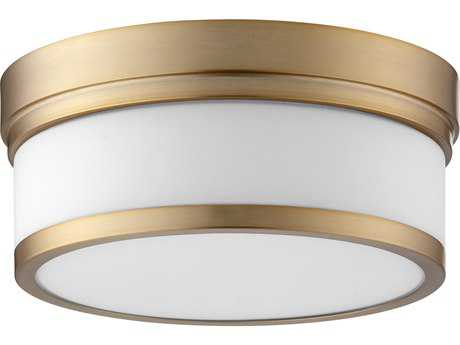 Quorum International Geometric Aged Brass with Satin Opal Two-Light 12'' Wide Flush Mount Light QM35091280