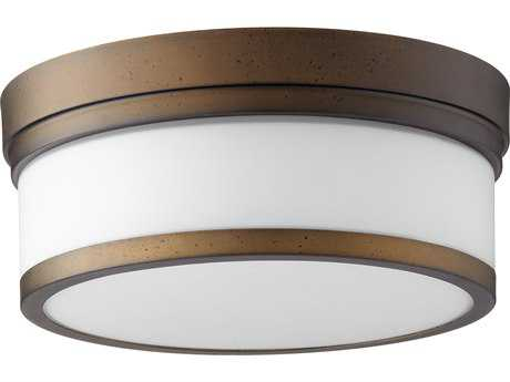 Quorum International Geometric Oiled Bronze with Satin Opal Two-Light 12'' Wide Flush Mount Light QM35091286