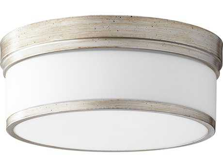 Quorum International Geometric Aged Silver Leaf with Satin Opal Three-Light 14'' Wide Flush Mount Light QM35091460