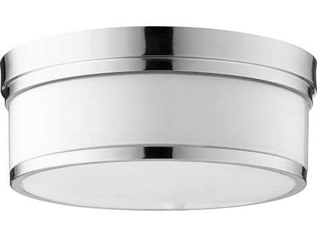 Quorum International Geometric Polished Nickel with Opal Three-Light 14'' Wide Flush Mount Light QM35091462