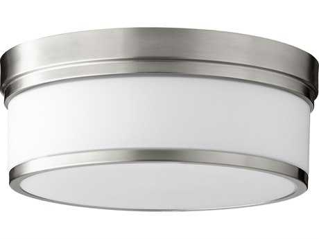 Quorum International Geometric Satin Nickel with Satin Opal Three-Light 14'' Wide Flush Mount Light QM35091465