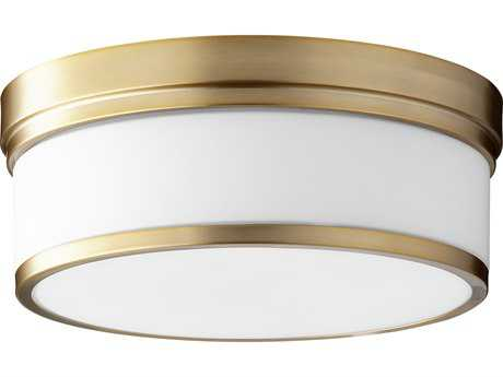 Quorum International Geometric Aged Brass with Satin Opal Three-Light 14'' Wide Flush Mount Light QM35091480