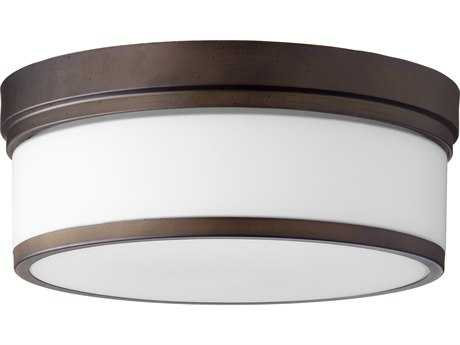 Quorum International Geometric Oiled Bronze with Satin Opal Three-Light 14'' Wide Flush Mount Light QM35091486