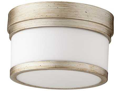 Quorum International Geometric Aged Silver Leaf with Satin Opal 9'' Wide Flush Mount Light QM3509960