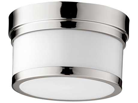 Quorum International Geometric Polished Nickel with Opal 9'' Wide Flush Mount Light QM3509962