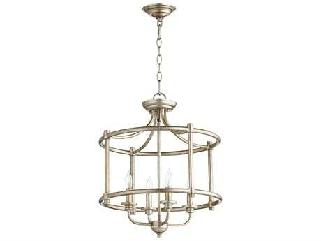 Quorum International Geometric Aged Silver Leaf Four-Light 18'' Wide Mini Chandelier QM28221860