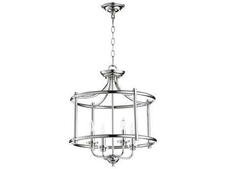 Quorum International Geometric Polished Nickel Four-Light 18'' Wide Mini Chandelier QM28221862
