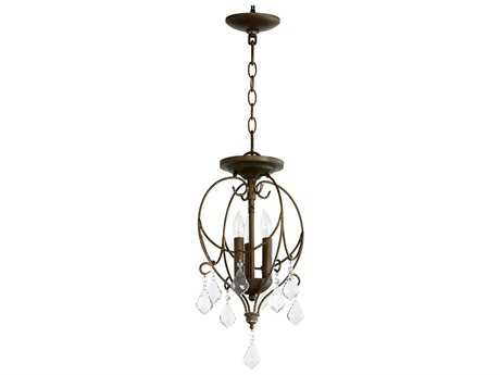Quorum International Geometric Vintage Copper Three-Light 11'' Wide Convertible Pendant / Semi-Flush Mount Light QM27051039