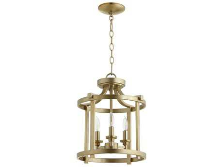 Quorum International Geometric Aged Brass Three-Light 13'' Wide Convertible Pendant / Semi-Flush Mount Light QM28171380