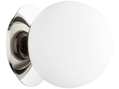 Quorum International Globe Polished Nickel with Satin Opal Glass 6'' Wide Vanity Light QM339162