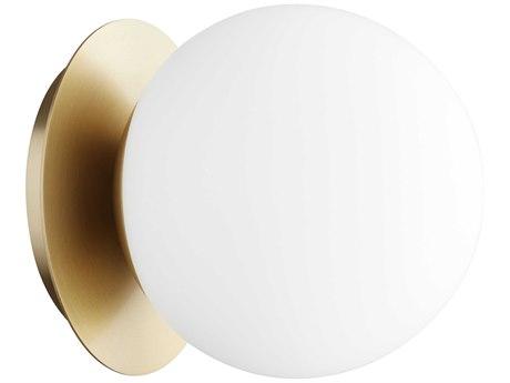 Quorum International Globe Aged Brass with Satin Opal Glass 6'' Wide Vanity Light QM339180