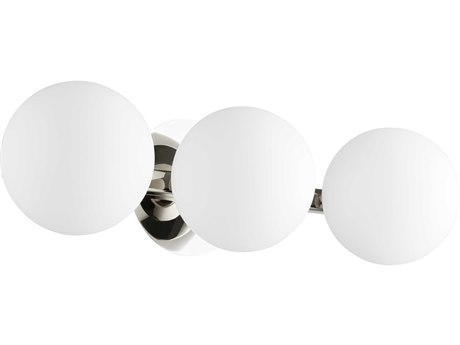 Quorum International Globe Polished Nickel with Satin Opal Glass Three-Light 22'' Wide Vanity Light QM539362