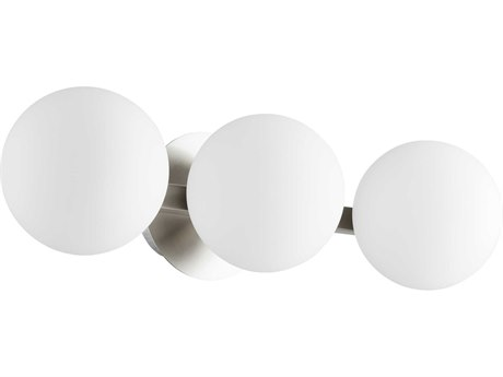 Quorum International Globe Satin Nickel with Satin Opal Glass Three-Light 22'' Wide Vanity Light QM539365