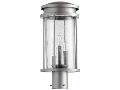 Quorum International Hadley Graphite with Clear Seeded Glass Three-Light 8'' Wide Outdoor Post Light QM711233