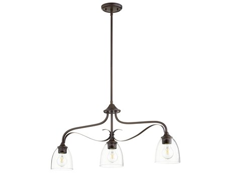 Quorum International Jardin Oiled Bronze With Clear/seeded 3-light 33'' Wide Glass Island Light