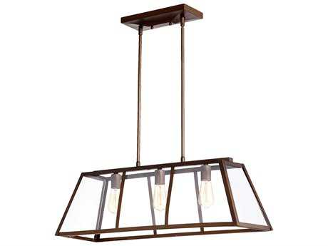 Quorum International Kaufmann Oiled Bronze Three-Light 32'' Long Island Light QM6504386