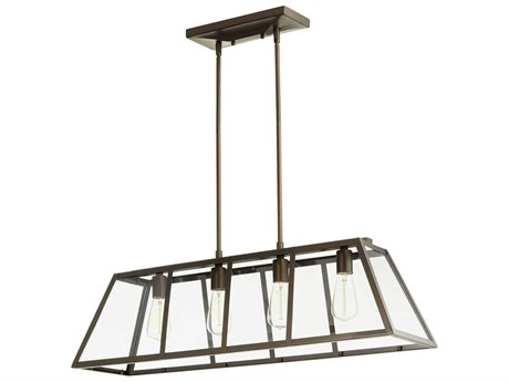 Quorum International Kaufmann Oiled Bronze with Clear Glass Four-Light 35'' Wide Island Light QM6504486
