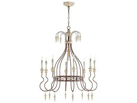 Quorum International La Maison Manchester Grey with Rust Accents Eight-Light 36'' Wide Chandelier QM62528156