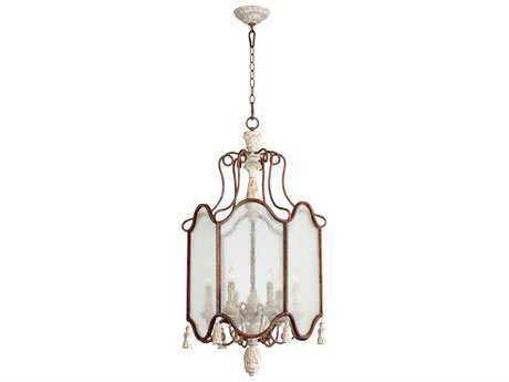 Quorum International La Maison Manchester Grey with Rust Accents Glass Six-Light 21'' Wide Pendant Light QM6852656