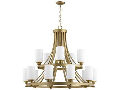 Quorum International Lancaster Aged Brass with Satin Opal 15-Light 38'' Wide Chandelier QM62071580