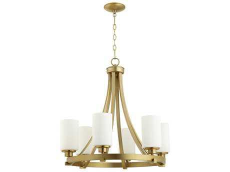 Quorum International Lancaster Aged Brass with Satin Opal Six-Light 25'' Wide Chandelier QM6207680