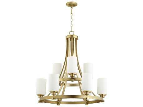 Quorum International Lancaster Aged Brass with Satin Opal Nine-Light 29'' Wide Chandelier QM62079180