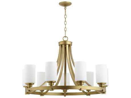 Quorum International Lancaster Aged Brass with Satin Opal Nine-Light 34'' Wide Chandelier QM6207980