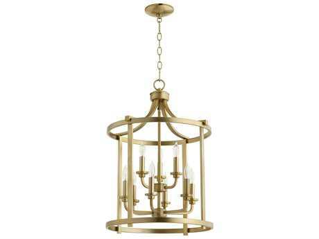 Quorum International Lancaster Aged Brass Nine-Light 18'' Wide Chandelier QM6807980