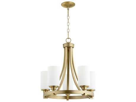 Quorum International Lancaster Aged Brass with Satin Opal Five-Light 21'' Wide Mini Chandelier QM6207580