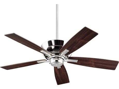Quorum International Mercer Polished Nickel Four-Light 52'' Wide Indoor Ceiling Fan with Dark Teak Blades QM9452562
