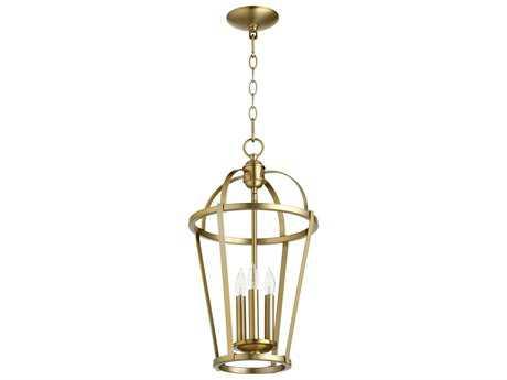 Quorum International Miter Entry Aged Brass Three-Light 12'' Wide Pendant Light QM6734380