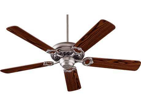 Quorum International Monticello Satin Nickel with Dark Oak & Rosewood 52 Inch Indoor Ceiling Fan QM175256522
