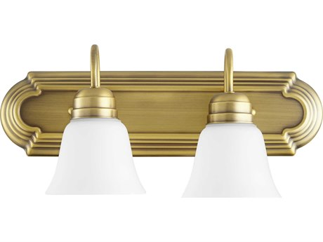 Quorum International Aged Brass with Satin Opal Glass Two-Light 18'' Wide Vanity Light QM5094280