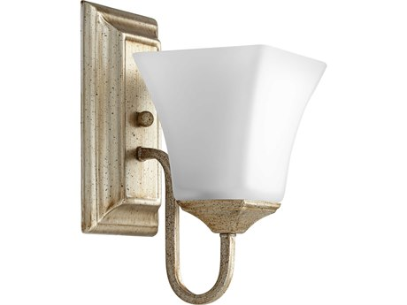 Quorum International Aged Silver Leaf with Satin Opal Glass 5'' Wide Vanity Light