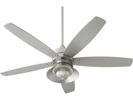 Quorum International Portico Satin Nickel 60'' Wide Outdoor Ceiling Fan with Light QM1460565