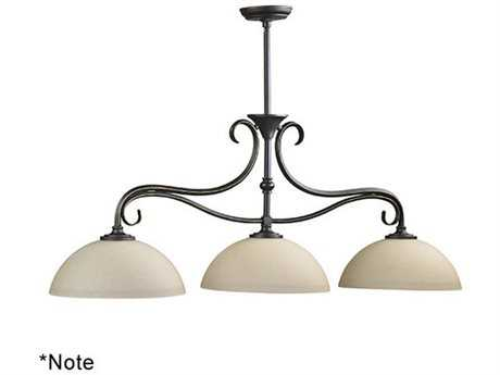 Quorum International Powell Oiled Bronze With Satin Opal Three-Light Island Ceiling Light QM6508386
