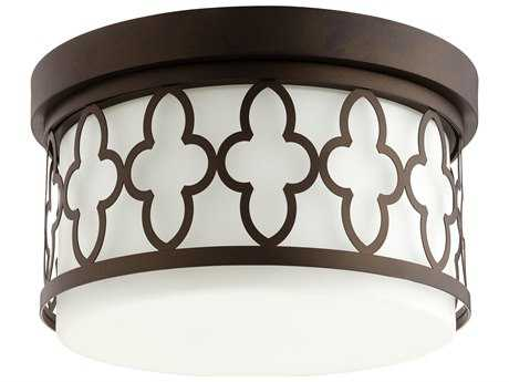 Quorum International Quatrefoil Oiled Bronze Two-Light 12'' Wide Flush Mount Light QM3421286