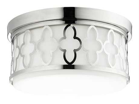 Quorum International Quatrefoil Polished Nickel Three-Light 14'' Wide Flush Mount Light QM3421462