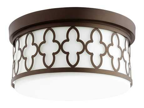Quorum International Quatrefoil Oiled Bronze Three-Light 14'' Wide Flush Mount Light QM3421486