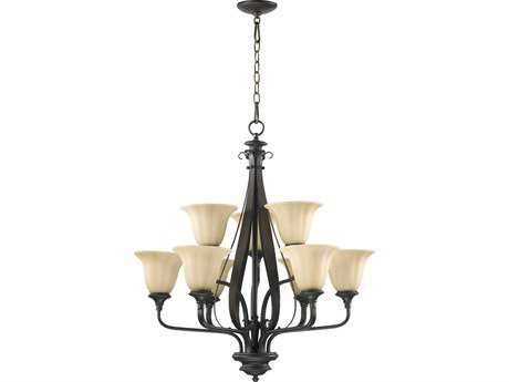 Quorum International Randolph Oiled Bronze Nine-Light 28'' Wide Chandelier
