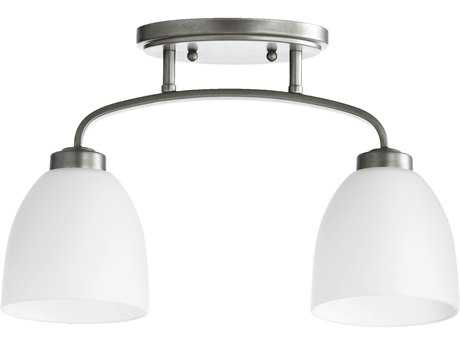 Quorum International Reyes Classic Nickel Two-Lights Semi-Flush Mount Light QM3260264