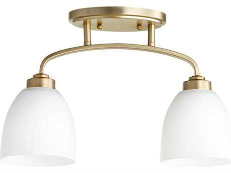 Quorum International Reyes Aged Brass with Satin Opal Two-Light 16'' Wide Semi-Flush Mount Light QM3260280