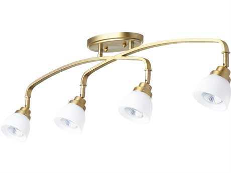 Quorum International Reyes Aged Brass with Satin Opal Four-Light 31'' Wide Spot Light QM3860480
